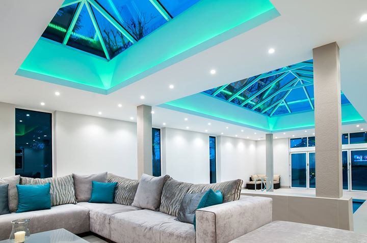 Aqua Mood Lighting in Conservatory